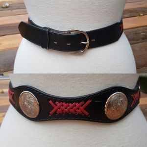 NEW DDD 3-D Belt Co. Leather Silver Concho Belt